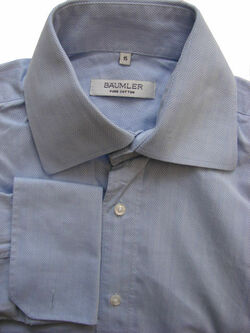 BAUMLER Shirt Mens 15 S Blue HERRINGBONE Stripes