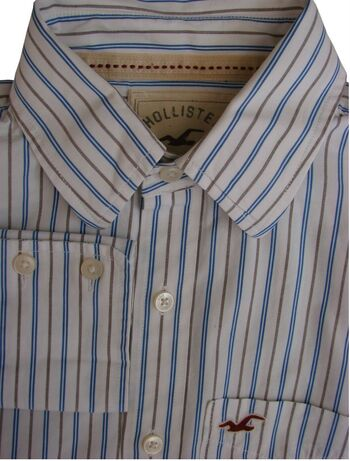 HOLLISTER Shirt Mens 15 XS White – Blue & Brown Stripes