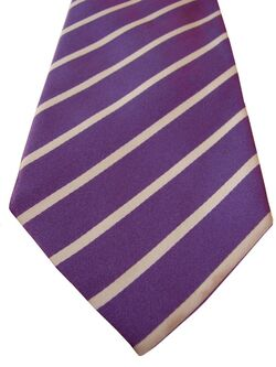TM LEWIN Mens Tie Purple – White Stripes - SHIMMERY