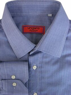 UNGARO Shirt Mens 15 S Blue - HERRINGBONE Stripes
