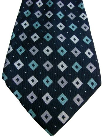 PAUL SMITH Tie Black – Green & Grey Diamonds EXTRA WIDE