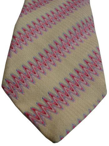 DUCHAMP LONDON Tie Creamy Yellow – Pink Zig Zag Stripes