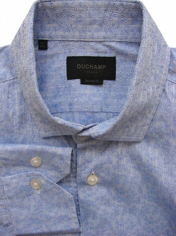 DUCHAMP LONDON Shirt Mens 15.5 M Blue – Flowers & Stripes TAILORED FIT