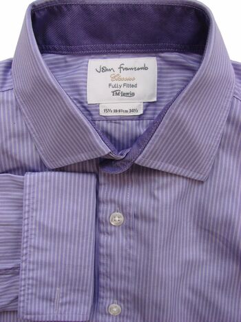 JOHN FRANCOMB TM LEWIN Shirt Mens 15.5 M Purple - Lilac Stripes FULLY FITTED