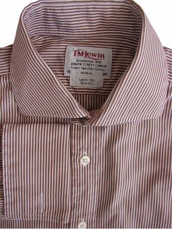 TM LEWIN 100 Shirt Mens 15 S Brown & White Stripes SLIM FIT NEW