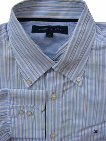 TOMMY HILFIGER Shirt Mens 16.5 L Blue & White Stripes