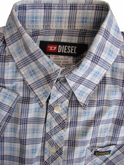 DIESEL Shirt Mens 14 S Black Blue & White Check SHORT SLEEVE