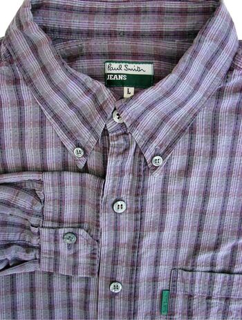 PAUL SMITH Shirt Mens 16.5 L Purple & Lilac Stripes - TEXTURED