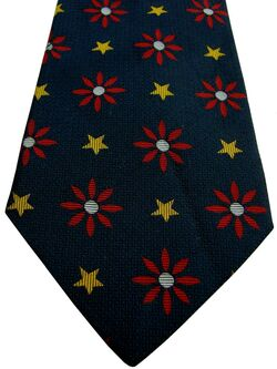 BODEN Mens Tie Dark Blue – Red Flowers & Yellow Stars