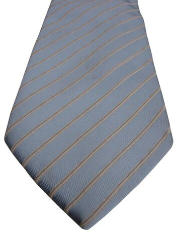 CHARLES TYRWHITT Mens Tie Light Blue TEXTURED White Stripes