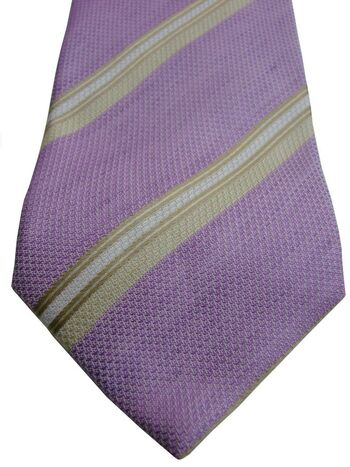 ATELIER F&B Tie Lilac - White & Brown Stripes