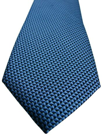 VAN BUCK Mens Tie Black Blue Swirly Design SKINNY