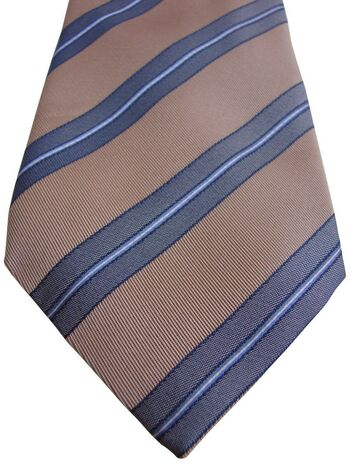MOSCHINO Tie Beige - Blue Stripes - TEXTURED
