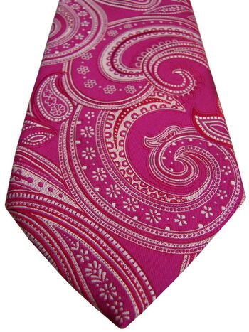 NEXT Tie Fuchsia - Red & Cream Paisley