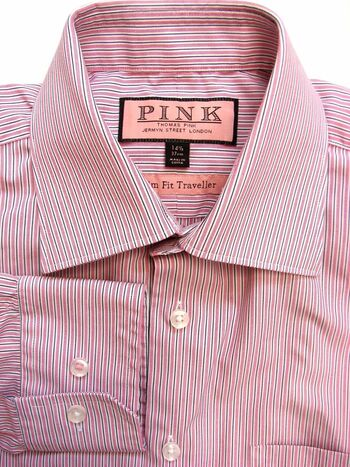 THOMAS PINK Shirt Mens 14 S White & Pink Stripes SLIM FIT TRAVELLER NEW