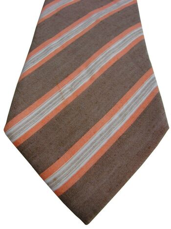 PAL ZILERI Mens Tie Brown - Orange & White Stripes
