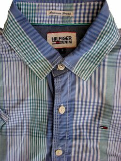 HILFIGER DENIM Shirt Mens 15.5 S Green White & Blue Check SHORT SLEEVE