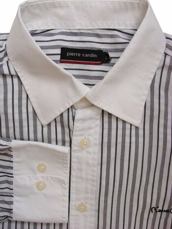PIERRE CARDIN Shirt Mens 16 L White - Black Stripes