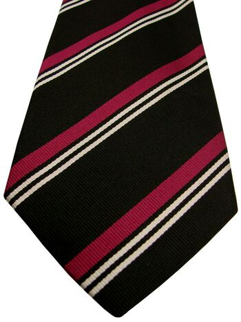 RALPH LAUREN POLO Tie Black - Pink & White Stripes