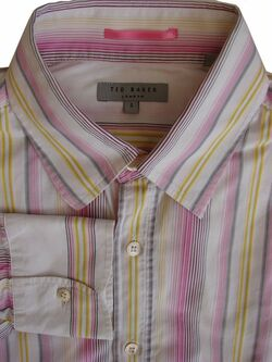 TED BAKER Shirt Mens 15.5 M White - Pink Yellow & Grey Stripes