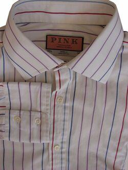 78027aa7 THOMAS PINK Shirt Mens 15.5 M White - Purple Blue & Burgundy Stripes