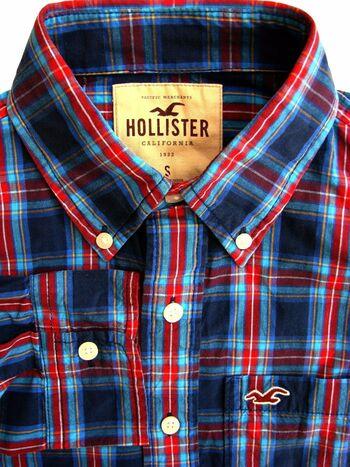 HOLLISTER Shirt Mens 15.5 S Blue - Multi-Coloured Check