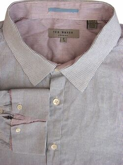 TED BAKER Shirt Mens 17 L White - Narrow Blue Stripes