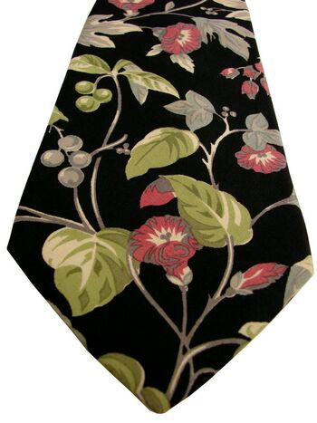 RALPH LAUREN POLO Tie Black - Green Plants & Red Flowers