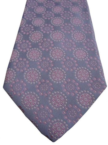 HUGO BOSS Mens Tie Light Blue - Pink Concentric Polka Dots