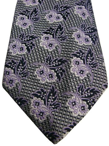 DUCHAMP LONDON Mens Tie Grey Polka Dots & Lilac & White Flowers