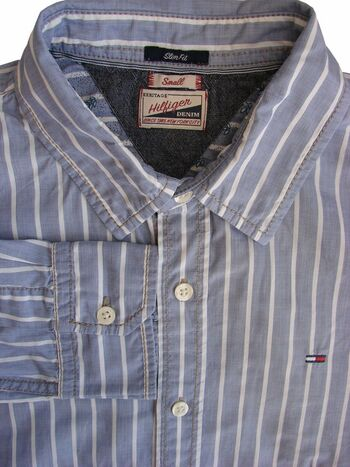 HILFIGER DENIM Shirt Mens 15 S Grey - White Stripes SLIM FIT