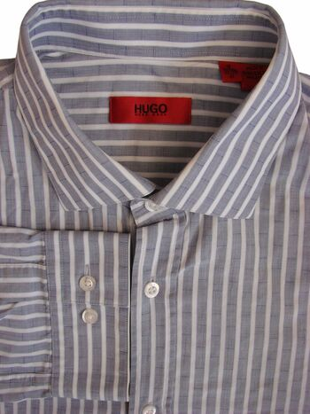 HUGO BOSS Shirt Mens 16 M Light Grey - White Stripes