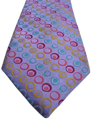 VAN BUCK PLATINUM Mens Tie Lilac - Multi-Coloured Polka Dots