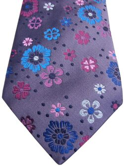 DUCHAMP LONDON Mens Tie Grey - Multi-Coloured Flowers NEW BNWT