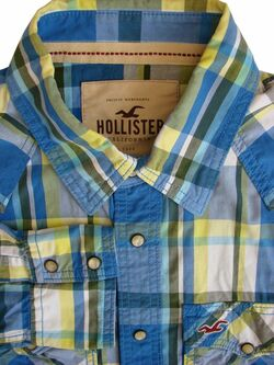 Mens HOLLISTER Shirt 17 L Blue Black White & Yellow Check POPPERS