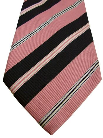 PAL ZILERI Mens Tie Pink Black & White Stripes
