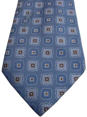 CANALI Mens Tie Blue - Brown & White Squares