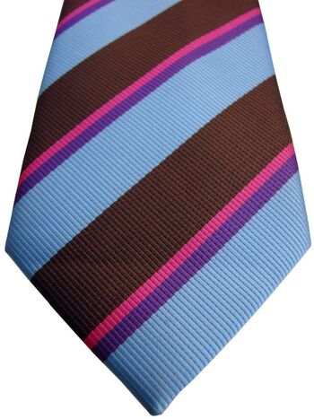 NEXT Mens Tie Brown Blue Fuchsia & Purple Stripes ULTRA SKINNY