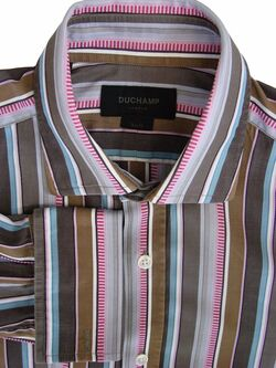 DUCHAMP LONDON Shirt Mens 15.5 M Brown - Multi-Coloured Stripes SLIM FIT