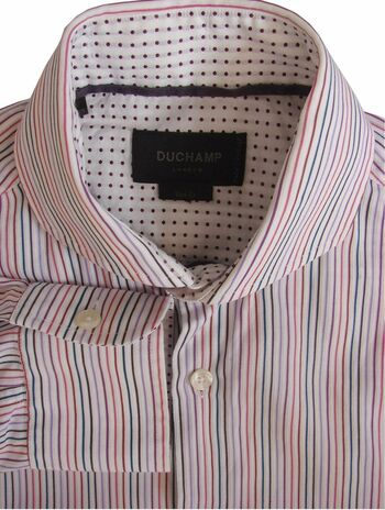 DUCHAMP LONDON Shirt Mens 14.5 S White - Multi-Coloured Stripes SLIM FIT