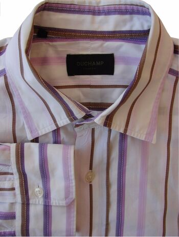 DUCHAMP LONDON Shirt Mens 16.5 L White - Brown Pink & Purple Stripes