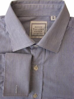 SAVOY TAYLORS GUILD Shirt Mens 15 S Blue & White Narrow Stripes