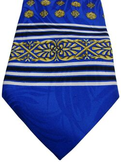 BAUMLER Tie Blue - Gold Lion & Black & White Stripes
