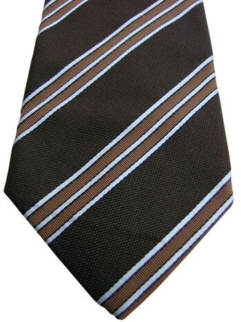 ASOLE & BOTTONI Tie Dark Brown - Brown & White Stripes - TEXTURED