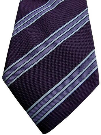 ASOLE & BOTTONI Tie Burgundy - Lilac & White Stripes - TEXTURED