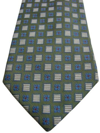 CODICE UOMO Mens Tie Green - Blue Flowers & White Squares