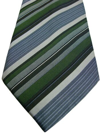 PAUL SMITH Tie Green Brown White & Grey Stripes