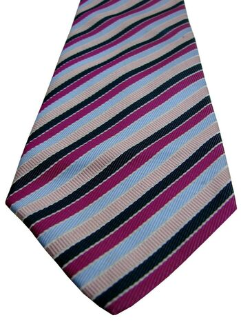 TED BAKER ENDURANCE Tie Pink Fuchsia Blue & Black Stripes