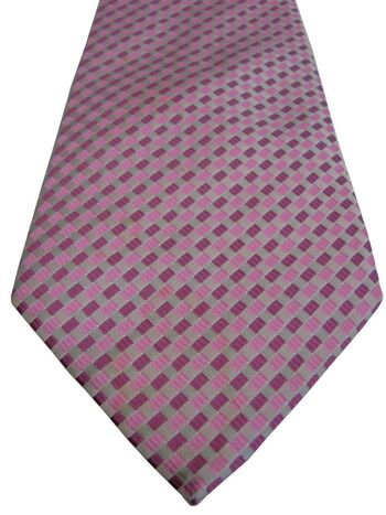 JOHN LEWIS Mens Tie White - Pink & Burgundy Rectangles