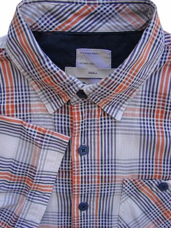 FAT FACE Shirt Mens 16 S White - Orange Green & Blue Check SHORT SLEEVE